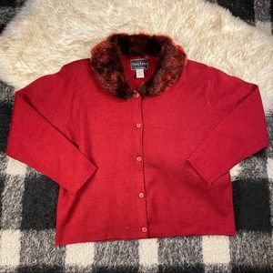 Vtg red faux fur lapel trim sweater cardigan  lg